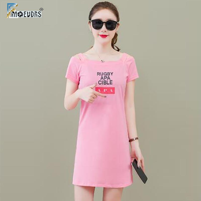 Милые мини-платья для женщин, короткий рукав, с буквенным принтом, футболка, платье, хлопок, черный, розовый, белый, открытая туника с открыты...