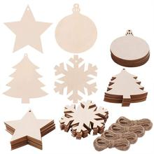 40 Pieces 4 Style Wood Slices with Round Wooden, Snowflake, Star, Christmas Tree Cutouts and Jute Twine for Kids Crafts Christ