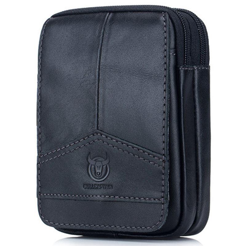 BULLCAPTAIN Men Waist Packs Genuine Leather Vintage Travel Cell Phone Bag Waist Bag Small Fanny Pack Belt Bag Black