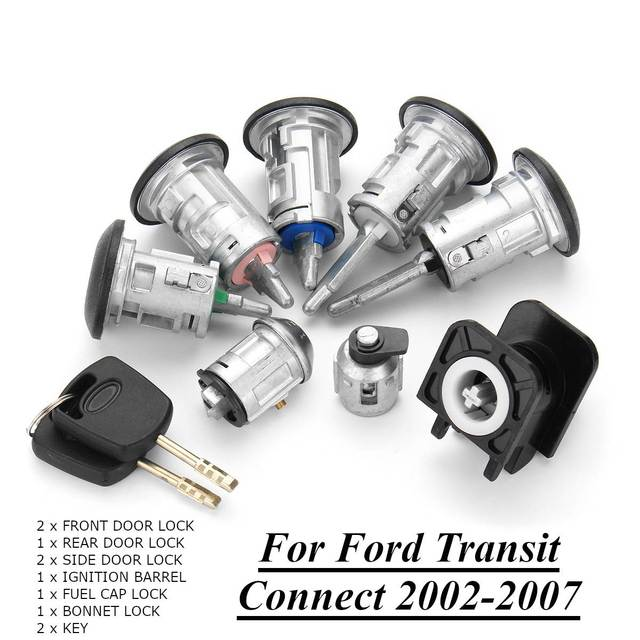 US $40 37 17% OFF|8pcs Ignition Switch Front + Rear Door Lock Bonnet Set  with 2 Keys for Ford Transit Connect 2002 2007 4425134-in Locks & Hardware