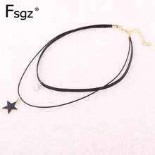 цены Leather Tattoo Choker Necklaces For Women Gothic Black Lace Collar Necklaces Joker Jewelry Neck Accessories Chokers Handcrafted