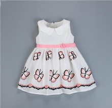 summer girls dress white embroidery butterfly fashion baby frock birthday kids dresses for girl clothing cotton children costume недорого