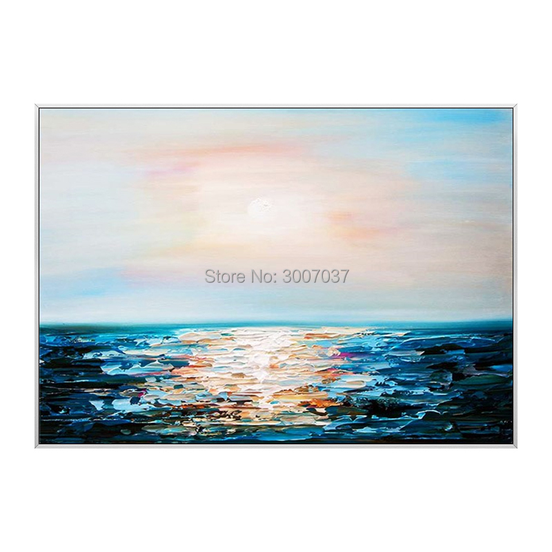 Hand Painted Abstract Sea Canvas Painting Sunrise Canvas Oil Painting Wall Pictures for Living Room Wall Art Poster Home Decor in Painting Calligraphy from Home Garden