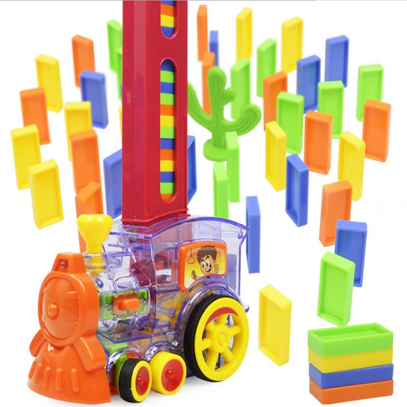 Domino Building Block Game Set Cartoon Rally Train Engine Shaped Toy Set Domino Rally Block Toy Ideal Birthday Christmas Gift image