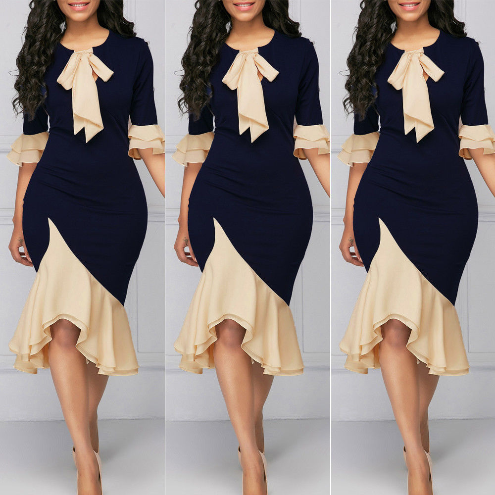 Hot sell women dress Party half sleeve Fall Summer patchwork OL Ruffle 2019  bandage bodycon sexy 2c2eb23b2a0d