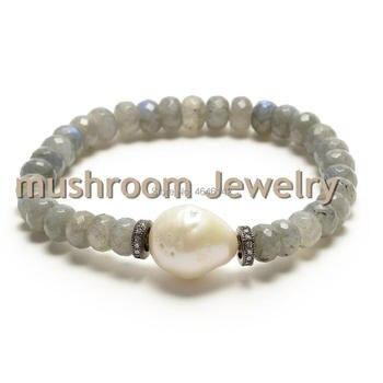 Pave zircon Spacer Baroque Pearl Stretch Bracelet Jewelry Rondelles Labradorite Stone Bracelet Strand bracelets Women