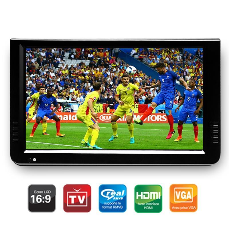 Portable 10 pouces Tft Led 1080P Hd Pvr Dvbt2 numérique analogique Mini Tv voiture Tv Support Usb Tf lecteur de carte Us Plug