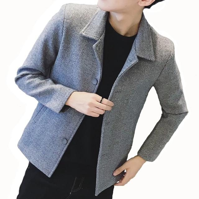 Woolen jacket male short section Korean version 2018 winter new British windny coat men's trend casual windbreaker male