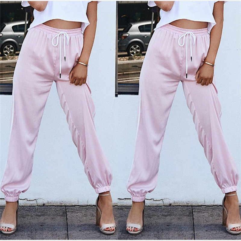 Mode Frauen Jogger Beiläufige Lose Seite Striped Lange Hosen Jogginghose Hosen Leggings Schweiß Tragen Plus Größe M-XL