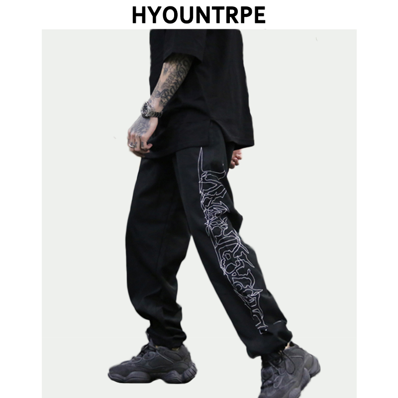 Hip Hop Loose Fit Elastic Waist Pants Fashion Embroidery Ankle Pants Mens 2019 New Spring Summer Casual Sportwear Pants Joggers