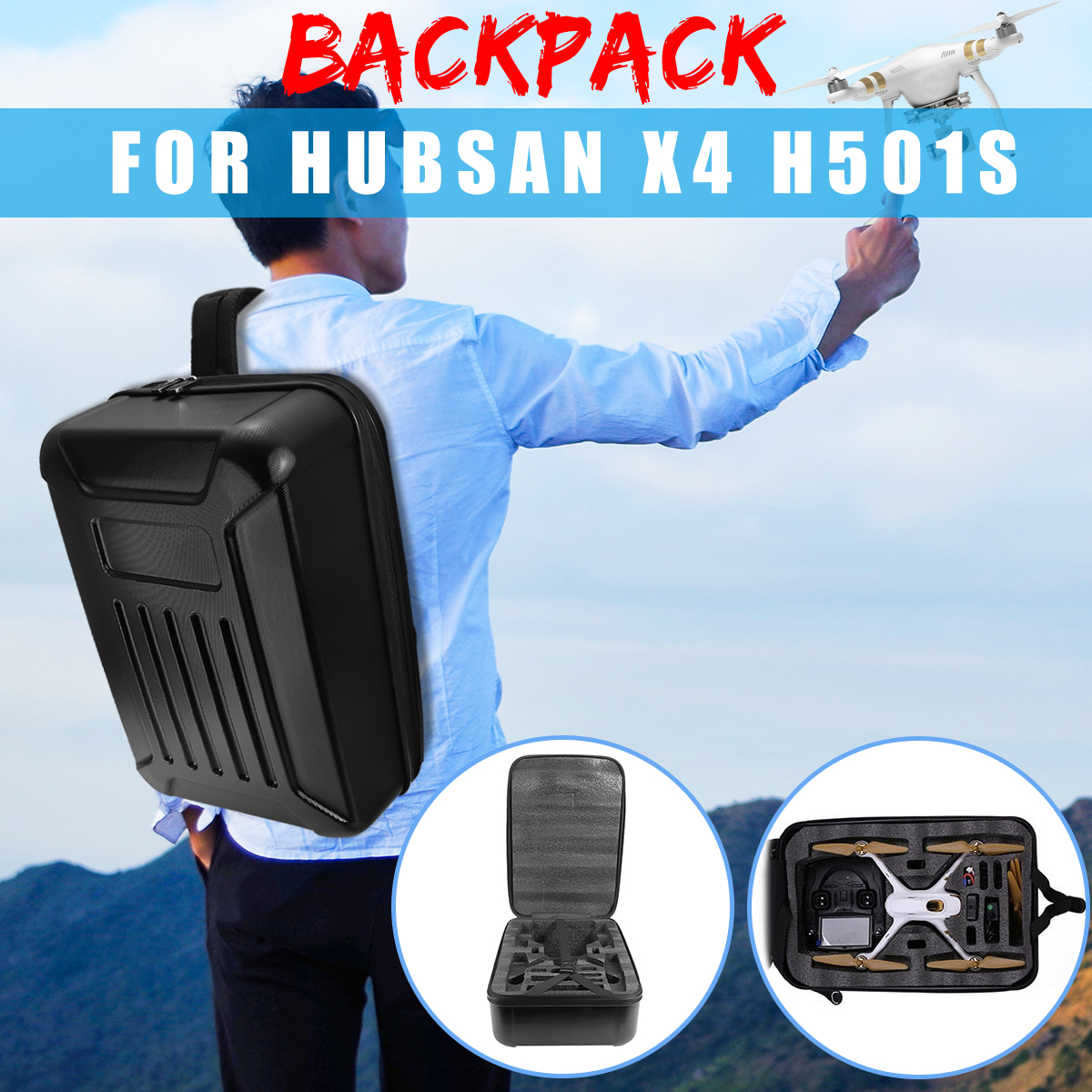 Black Waterproof Hard Shell Backpack Bag Box for Hubsan X4 H501S & H501C Camera Drone Carrying Case 1pcs hard shell backpack case bag camera drone bag backpack rc quadcopter case bag for hubsan x4 h501s rc quadcopter