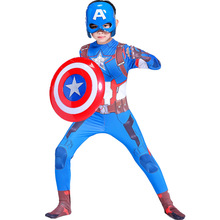 цена Captain America Cosplay Costume Captain America Child Costume Captain America Costume Boy Kids Halloween Costume For Kids онлайн в 2017 году