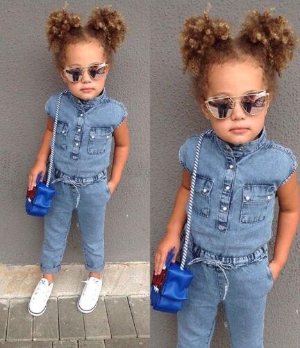 2019 Brand New Summer Toddler Baby Girl Fashion Jumpsuits Denim Blue Short Sleeve Single Breasted Elastic Waist Belt Romper 1-6Y