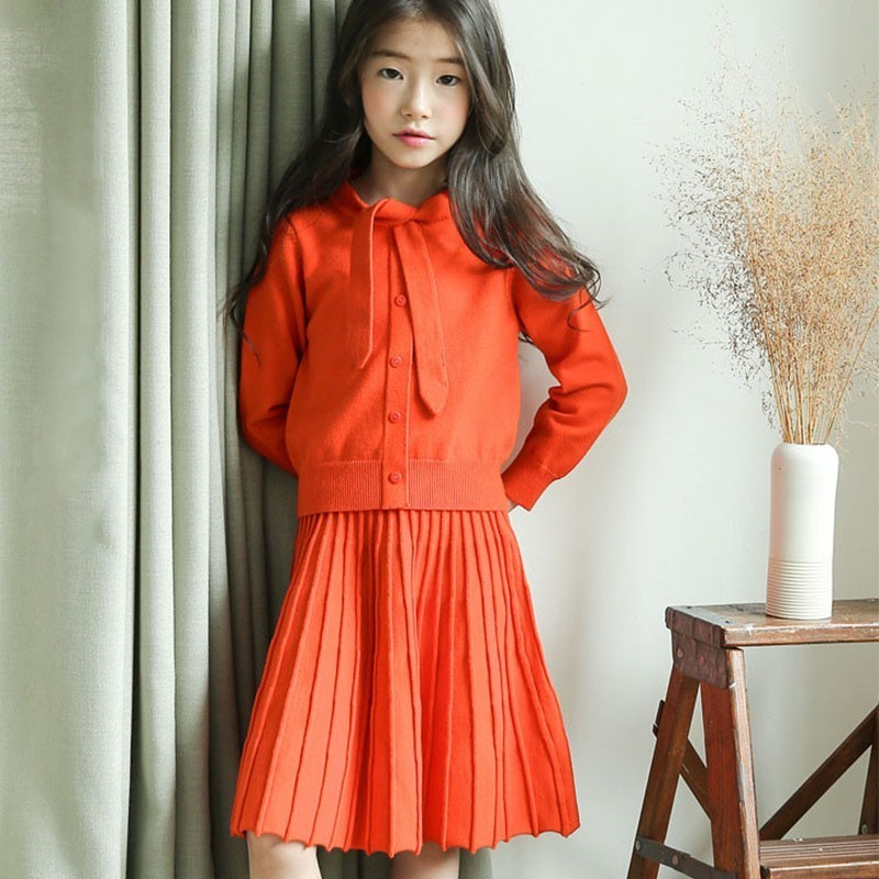 Knitted Cotton Big Children Clothing Set Winter Autumn Elastic Christmas Outfits Girls Knit Coats Pleated Skirts 2 Pcs Girl Set wool teen kids clothing set autumn winter children clothing set sleeveless dress cape coats 2 pcs clothes suits girl outfits