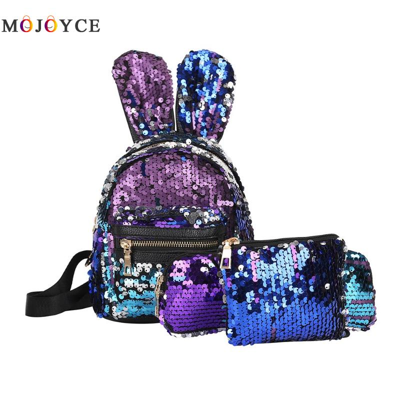 3pcs/set Mini Sequins School Backpack Women Rabbit Ears Rucksack Shoulder Leather Backpack Mochila Feminina Dependable Performance Women's Bags