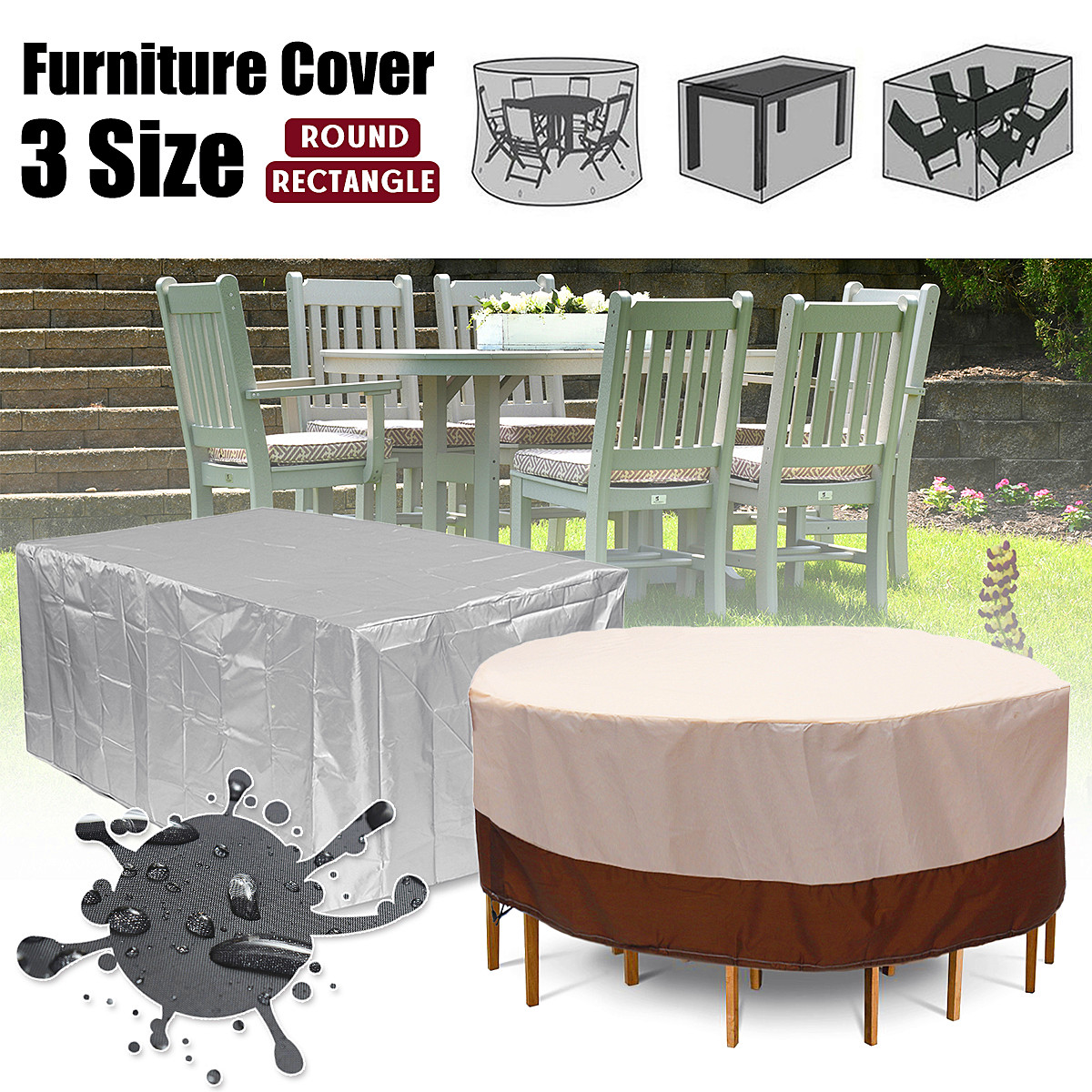 WATERPROOF 4//6 SEATER GARDEN FURNITURE TABLE SET RAIN BBQ COVER OUTSIDE PATIO