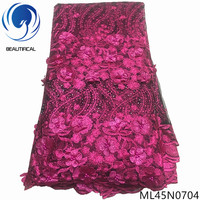BEAUTIFICAL french tulle lace beads lace dress fabric 3d embroidery lace fabrics material ML45N07