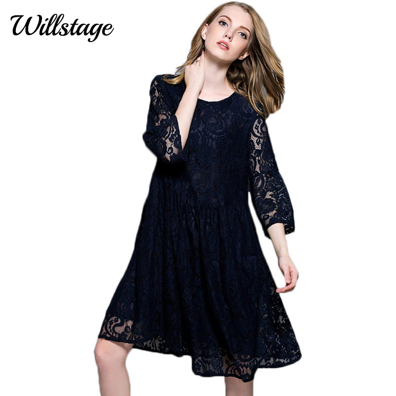 Willstage 4XL Plus Size Black Lace Dress Hollow Out Oversize Dresses  Elegant O Neck XXXXL Pregnant Clothing large 2019 Spring-in Dresses from  Women s ... d70475b8a0ca