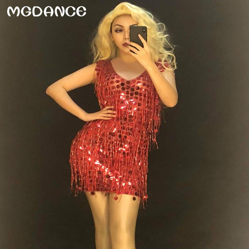 Nouveau femmes Sexy paillettes rouge gland robe pleine Paillette pétillante discothèque fête scène porter danseur chanteur Bling Costumes