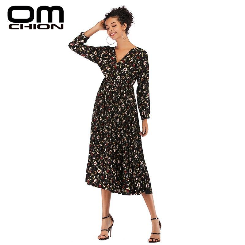 OMCHION Vestidos 2019 Весна цветочный v-образный вырез с длинным рукавом шифоновое летнее платье женское повседневное сексуальное платье со складкам...
