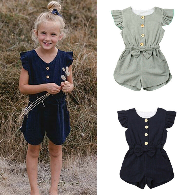 Toddler Kids Baby Girls Summer Ruffle Solid Color   Rompers   One Piece Jumpsuit Outfits Clothes Sunsuit