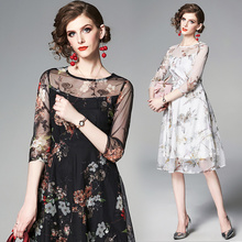 white floral embroidery dress 2019 women fashion runway see throught elegant black party ladies vestidos