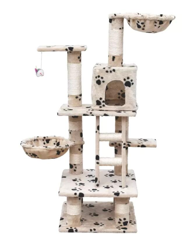Vidaxl Cat Play Tree 122 Cm Beige With Paw Prints Durable And Safely Pet Tree Beds Suitable For Multiple CatsVidaxl Cat Play Tree 122 Cm Beige With Paw Prints Durable And Safely Pet Tree Beds Suitable For Multiple Cats
