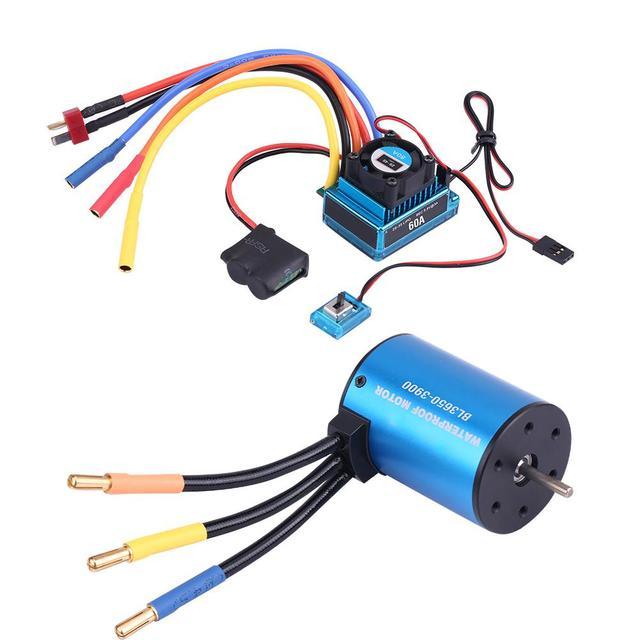 3650 3900KV 브러시리스 모터 및 방수 60A/120A 브러시리스 ESC 전기 속도 컨트롤러 콤보 세트 1/10 RC 자동차 액세서리