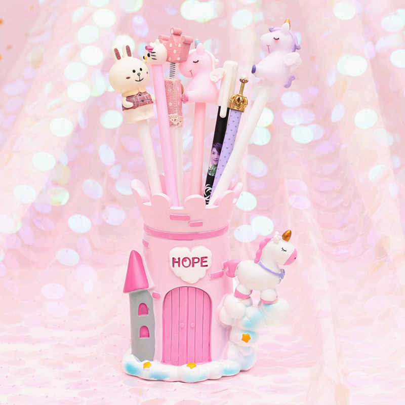 Pink Unicorn Pen Holder Office Organizer Cosmetic Square Pencil Pen Stand Holders Stationery Container Office School Supplies
