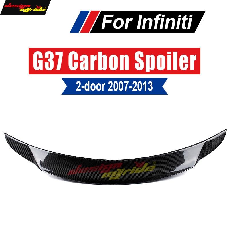 G37 Spoiler Tail Rear Trunk Wing Lip Carbon fiber For Infiniti tail 2Door 2007-2013