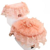 Lace Embroidery Bathroom Toilet Seat Pad Tank Lid Top Cover Toilet Pad Set Toilet Seat Covers Decoration Household Dust Proof