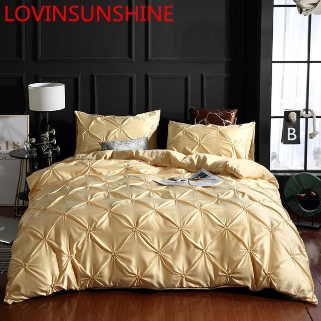 LOVINSUNSHINE funda de edredón de lujo juego de cama reina edredón cubre ropa de cama de lino seda AN04 #