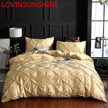 LOVINSUNSHINE الفاخرة لحاف لتغطية الفراش مجموعة سرير ملكة لحاف يغطي أغطية سرير الكتان الحرير AN04 #