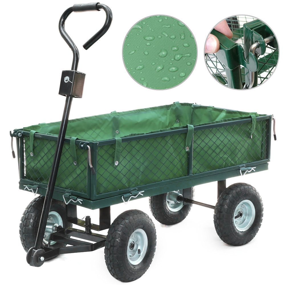 Panana Heavy Duty Large Garden Trolley Cart Truck 4 Wheel Transport Metal Steel Mesh Wheelbarrow Capacity 300kg France Stock