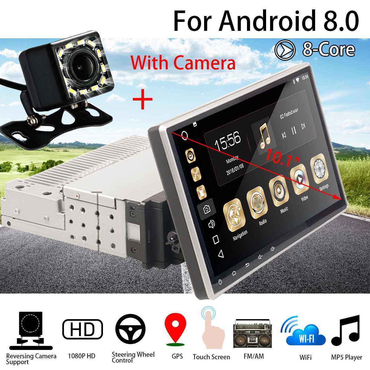 Car Multimedia Player 10.1 1G+16G for Android8 Car Stereo 1DIN bluetooth WIFI GPS Quad Core Radio Video MP5 Player With Camera