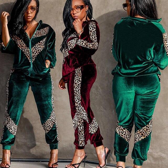 41aca5614ece Velvet TWO PIECE SET Leopard Women Leisure Suit Velour Jacket Jogger Pants  Winter Vogue Tracksuit Female