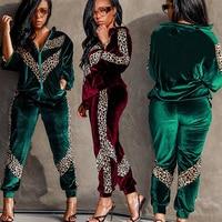Velvet TWO PIECE SET Leopard Women Leisure Suit Velour Jacket Jogger Pants Winter Vogue Tracksuit Female Lounge Wear Plus Size