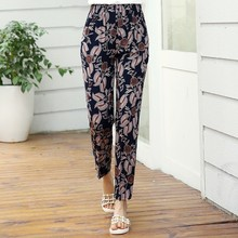 2019 Summer Middle Aged Women Pants Casual Elastic Waist Plaid Loose Floral Print Trousers Plus Size XL-5XL