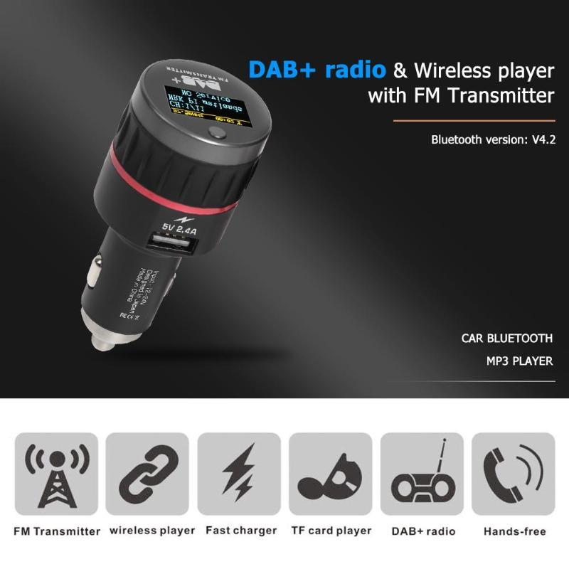 DC 12 V-24 V Bluetooth FM transmetteur voiture Kit mains libres DAB adaptateur Radio numérique lecteur MP3 USB chargeur 1.1 OLED écran d'affichage
