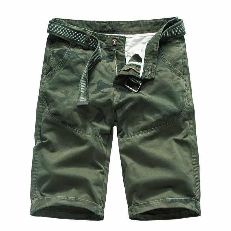 Hltb letnie nowe męskie najwyższej jakości zrelaksowany Fit wojskowy bawełna Twill Cargo krótkie męskie wypoczynek druku popędzający plażowe Camo spodenki męskie