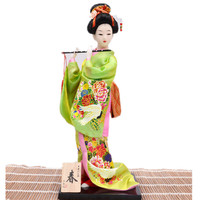 Anticient Japanese Culture Geisha Figurines Hand Made Home Deocration Craft 30cm Green Color Beautiful Gifts Vintage Home Decor