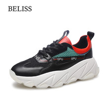 BELISS Genuine Leather Women Flat Shoes 2019 Lace Up Shoes Sneakers Women Platform Spring Casual Flat Shoes Women Round Toe P42