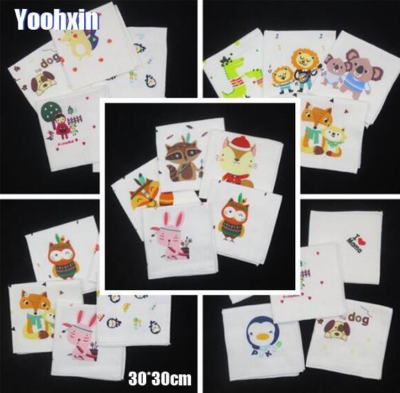 2PCS Mini Printed Cotton Children Hankies Cartoon Lace Hanky Floral Random Color Cloth Girl Boy Kids Handkerchief Fabrics