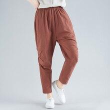 New Women's Pants 2019 Women Spring Summer Vintage Elastic Waist Harem Pants Casual Loose Cotton Linen Trousers цены
