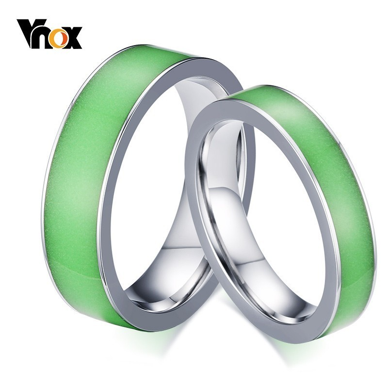 Vnox Wedding-Rings Gifts Alliance Stainless-Steel Fluorescence Promise Women Love