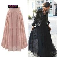 European New Pattern Long Pleated Black Summer Vintage Skirt High Waist Half body Skirt Skirts Womens Clothing Gypsy Gonna