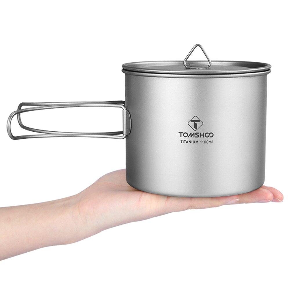 TOMSHOO 1100ml Titanium Outdoor Cup Titanium Water Mug Cup with Lid Handle Outdoor Camping Pot Cooking Pots Picnic Hang Pot lid