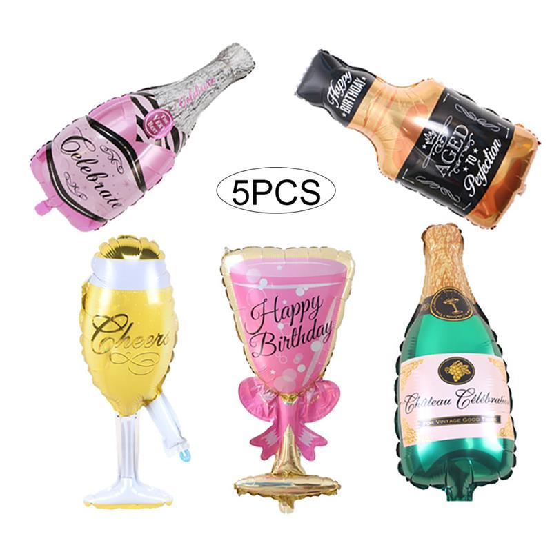 Hot Sale 5 Pcs Foil Champagne Balloons Set Giant Wine Bottle Glasses