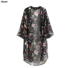 2019 New Arrival Summer Sunproof Cardigan Fashion Women printing Chiffon Bikini Cover Up Kimono Coat 2 Colors Xnxee
