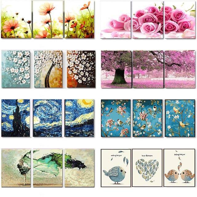 3 pz FAI DA TE Pittura A Olio by Numbers Fiore Trittico Immagini Animale Coloraz